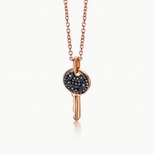 Colgante llave oro rosa diamantes black -