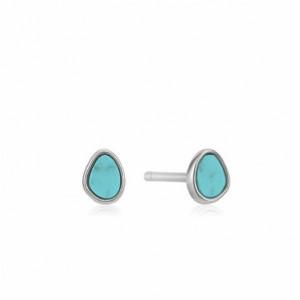 Pendientes mini turquesa plata - E027-04H