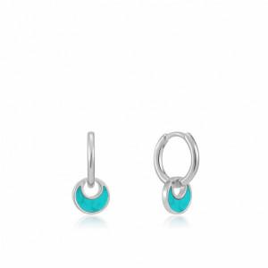 Aros mini colgante turquesa plata - E027-06H