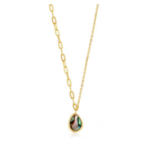 Collar mix eslabones nácar plata oro - N027-02G
