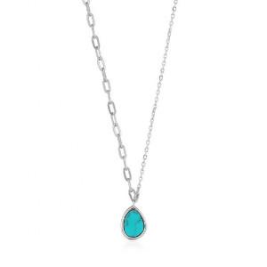 Collar mix eslabones turquesa plata - N027-02H