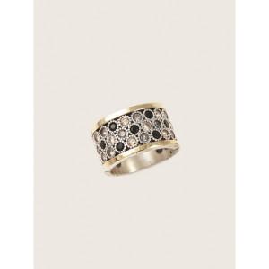 Anillo ancho piedras negras gris champagne plata oro -