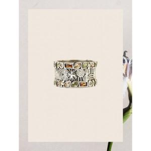 Anillo ancho piedras marrones y verdes plata -