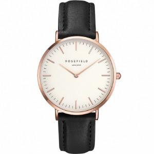 Reloj acero rosa extraplano cuero negro - BWBLR-B1