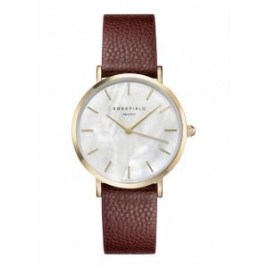 Reloj acero oro extraplano correa marrón -