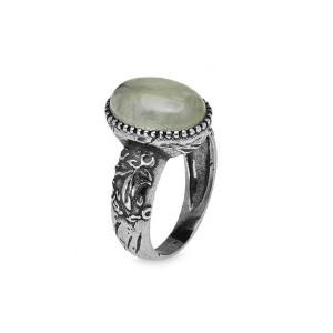 Anillo piedra verde plata envejecida -