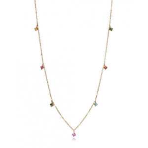 Collar piedras color plata oro - 4096C100-49