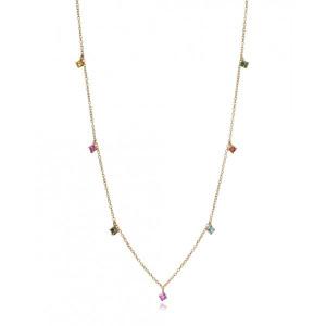 Collar piedras color plata oro - 4096C100-49