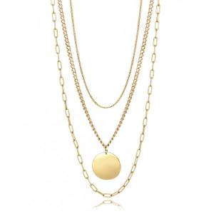 Collar eslabones acero dorado y medallón - 15055C01012