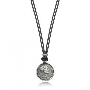 Colgante de hombre moneda acero cuero negro - 15035C01000