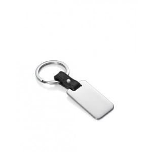 Llavero cuadrado de acero y piel negra - 6465L01010