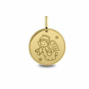 Medalla oro angelito con estrellas -