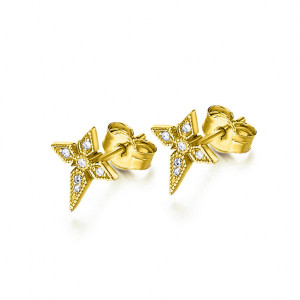 Pendientes cruz Art decó oro diamantes -