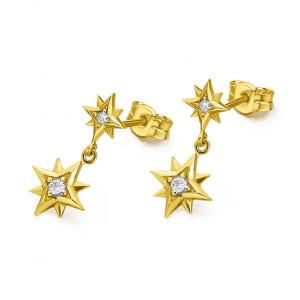 Pendientes estrella polar oro amarillo y diamantes -