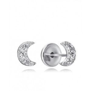 Pendientes niña luna plata con rosca - 9100E000-38