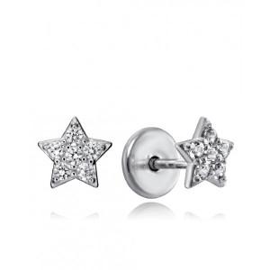 Pendientes niña estrella plata con rosca - 9101E000-38