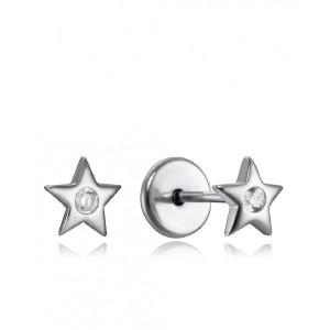 Pendientes niña estrella circonita plata con rosca - 9102E000-38