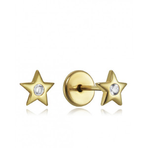 Pendientes niña estrella circonita plata oro rosca - 9102E100-38