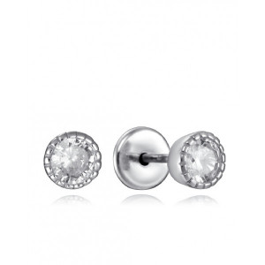 Pendientes niña circonita plata rosca - 9103E000-38