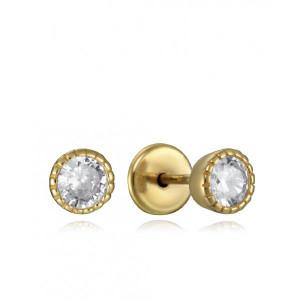 Pendientes niña circonita plata oro rosca - 9103E100-38