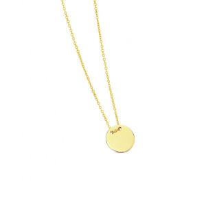 Colgante chapa redonda con cadena oro -