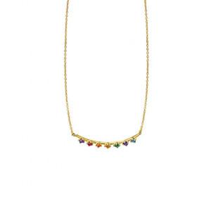 Colgante piedras multicolor oro -