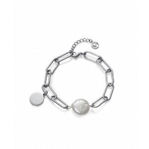 Pulsera eslabones acero perla medallita - 1317P01000