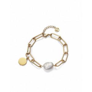 Pulsera dorada eslabones acero perla medallita - 1317P01012