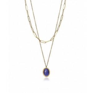 Collar multicadena dorada pieda azul - 1318C01012