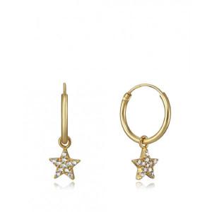 Aros estrellas circonitas plata oro - 7115E100-38