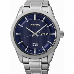 Reloj Seiko Solar esfera azul doble calendario -