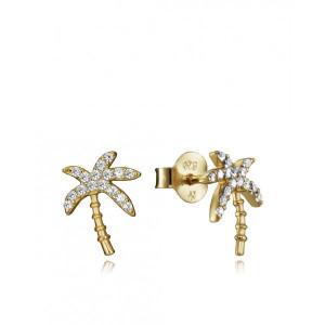 Pendientes palmera circonitas plata oro - 61077E100-08