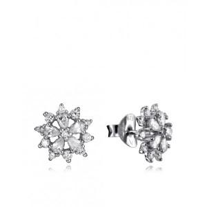 Pendientes flor circonitas plata - 7133E000-38
