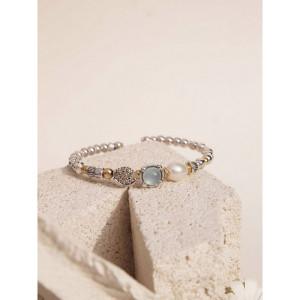 Pulsera rígida plata caldeconia perla natural -