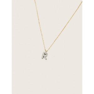 Letra con cadena de oro amarillo y plata de ley -