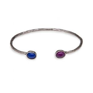 Pulsera brazalete azul y rubí bronce -
