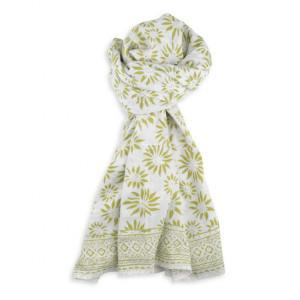 Pañuelo de algodón en blanco y verde -
