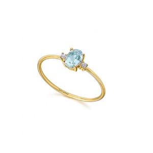 Anillo topacio azul diamantes oro -