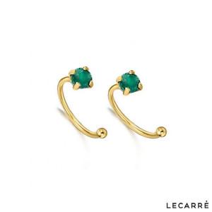 Pendientes piercing esmeralda oro -