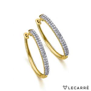 Pendientes aro diamantes oro -