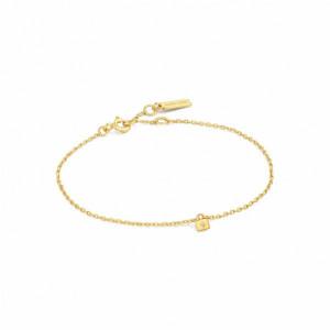 Pulsera cadena candado plata oro - B032-02G