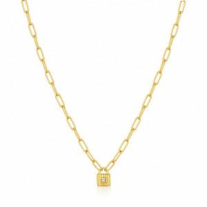 Collar eslabones candado plata oro - N032-01G