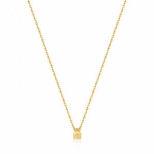Colgante cadena candado plata oro - N032-02G