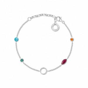 Pulsera piedras multicolor plata -