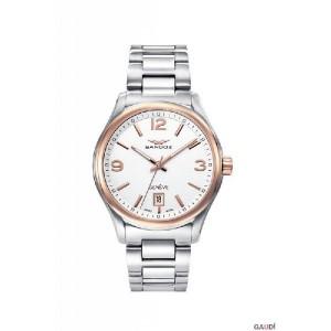 Reloj suizo Sandoz acero bicolor blanco y rosa - 81425-95