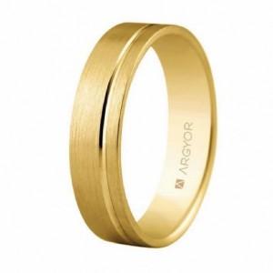 Alianza de oro amarillo 9k plana de 5 mm. -